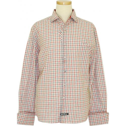 English Laundry Cream / Red / Navy Micro Windowpanes Design Long Sleeves 100% Cotton Shirt ELW1169