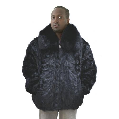 Winter Fur Black Genuine Pieces Mink Jacket With Fox Collar M03R01BK.