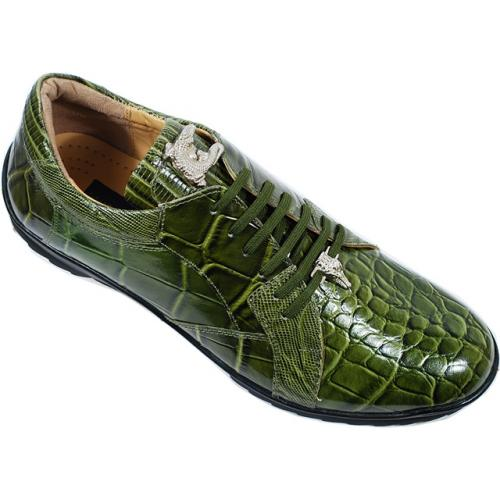 Giorgio Brutini Olive Green Alligator Print Sneakers With Silver Alligator Ornaments On Tongue And Lace 200025-1