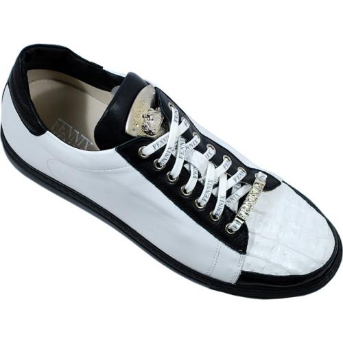 Fennix Italy 3266 White / Black Genuine Alligator /  Nappa Leather Sneakers