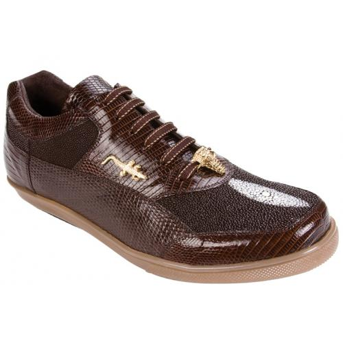 "Belvedere ""Polo II 2806"" Brown Genuine Stingray/Lizard Sneakers With Crocodile On The Side"