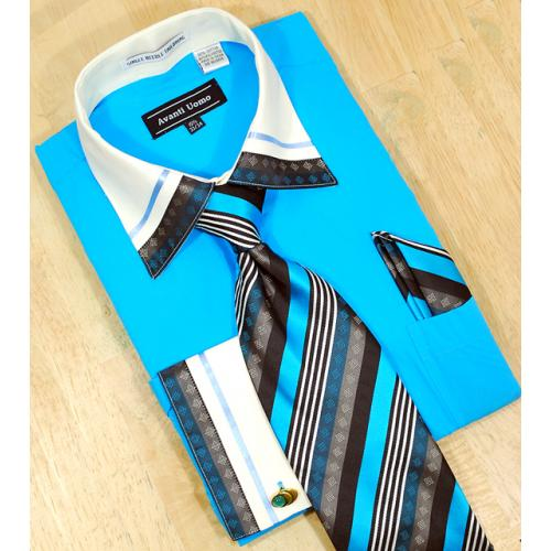 Avanti Uomo Turquoise / Cream With Embroidered Design Shirt/Tie/Hanky Set DN41M