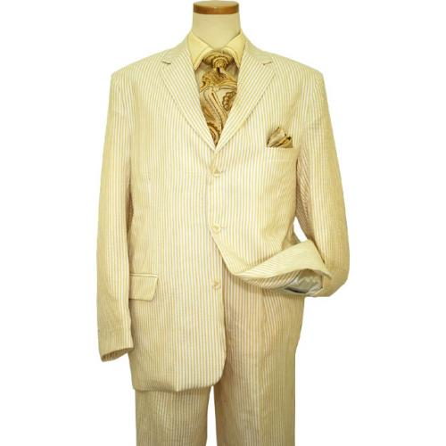 Successos 100% Cotton Tan / White Seersucker Wide Leg Suit BP3195-1