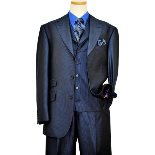 Extrema Black / Metallic Royal Blue Pinstripes Super 120's Wool Vested Suit T69002 / 25
