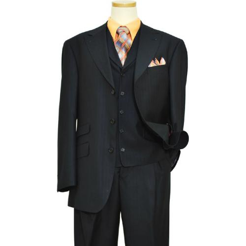 Extrema Navy Blue Shadow Pinstripes Super 120's Wool Vested Suit S3031 / 3