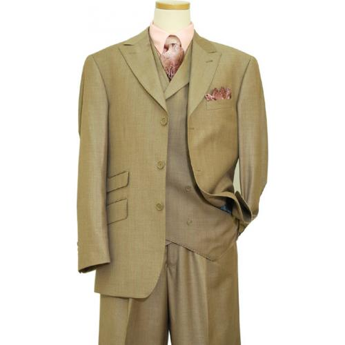 Extrema Taupe With Violet / Pink Shadow Stripes Super 120's Wool Vested Suit HF9060 / 12
