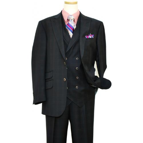 Extrema Navy Blue With Mauve Double Windowpanes Super 140's Wool Vested Suit 31819-1/9