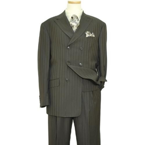 Extrema Dark Olive With Eggshell Pinstripes Double Breasted Super 120's Wool Vested Suit  S3031/32