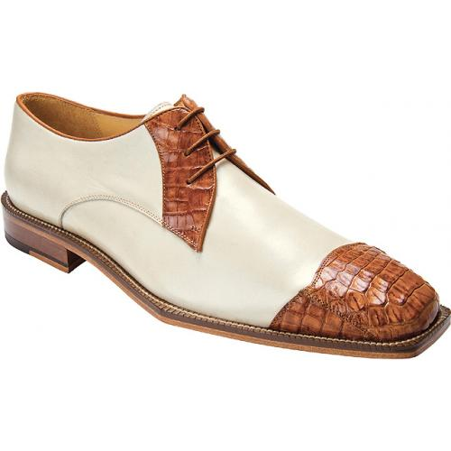 "Belvedere ""Fano"" Brandy / Cream Genuine Crocodile and Calf Shoes"