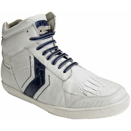 "Belvedere ""Guido"" White / Blue Genuine Crocodile And Lizard Skin Sneakers"
