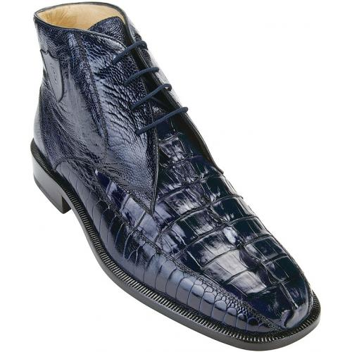 "Belvedere ""Rico"" Navy Genuine Ostrich and Hornback Crocodile Ankle Boots With Crocodile Tail."