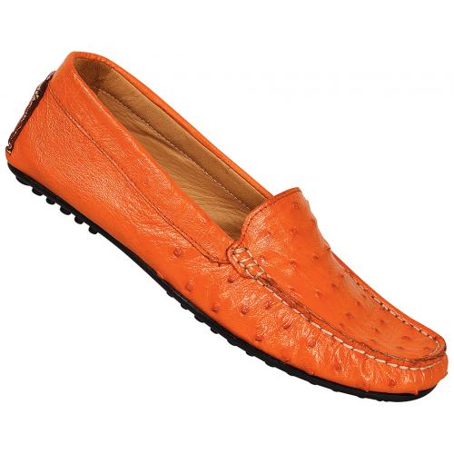 "Mauri Ladies ""3102"" Tangerine Genuine Ostrich Loafer Shoes"