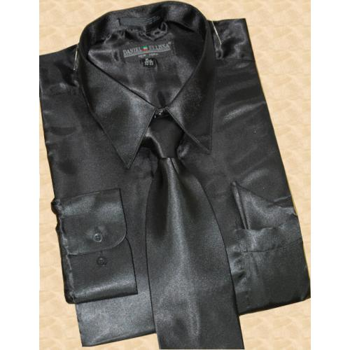 Daniel Ellissa Satin Black Dress Shirt/Tie/Hanky Set