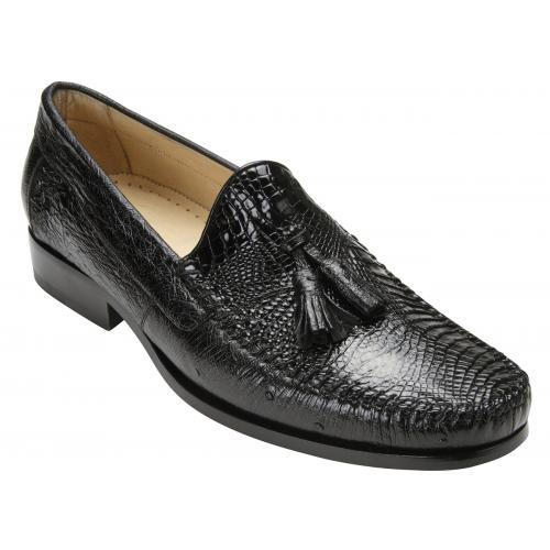"Belvedere ""Bari"" Black Genuine Alligator and Ostrich Skin Loafer Shoes With Tassels R11."