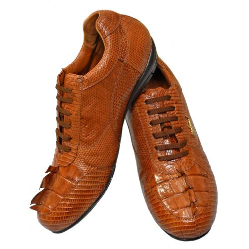 "Belvedere ""Cresta"" Cognac Genuine Crocodile Tail/Lizard Sneakers With Gold Crocodile On The Side 2804"