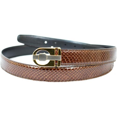 Giorgio Brutini Brown Genuine Snake Skin Leather Belt GB-121