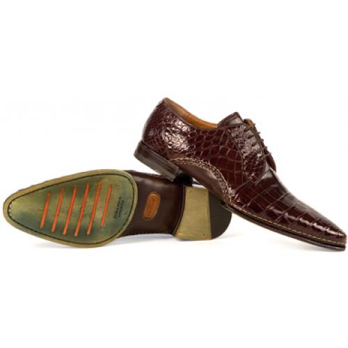 "Mauri ""1122"" Sport Rust All-Over Genuine Alligator Shoes"