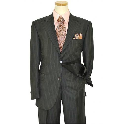 Elements by Zanetti Charcoal Grey With White Pinstripes Super 120's Wool Suit 1003