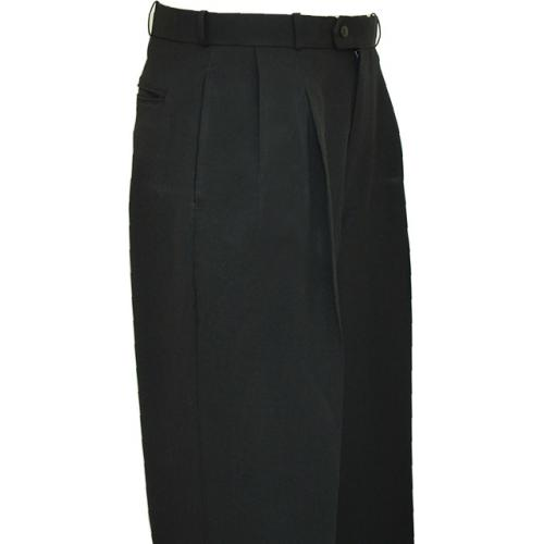 Pronti Solid Black Wide Leg Slacks P771