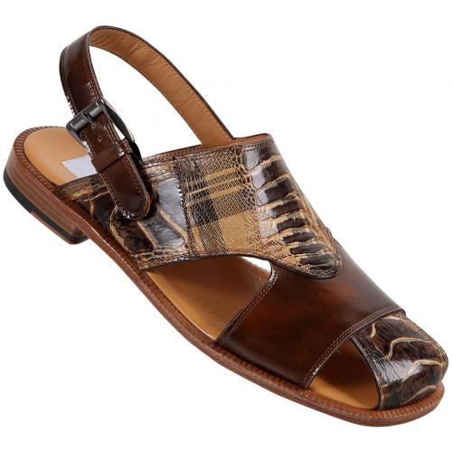 "Mauri  ""1527"" Scottish Brown / Shade Linen Genuine Ostrich Leg Sandals"