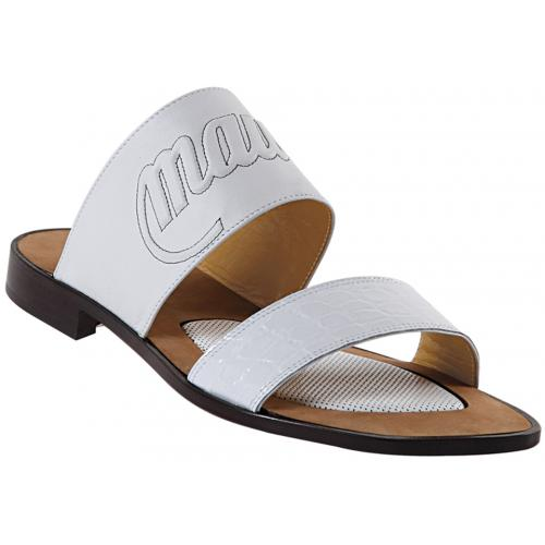 "Mauri  ""1534"" White Genuine Body Alligator / Nappa Mauri Embossed Sandals"