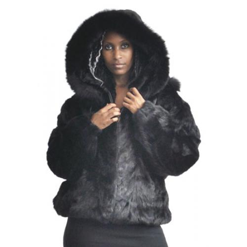 Winter Fur Ladies Black Pieces Mink Jacket With Detachable Hood W03S04BK