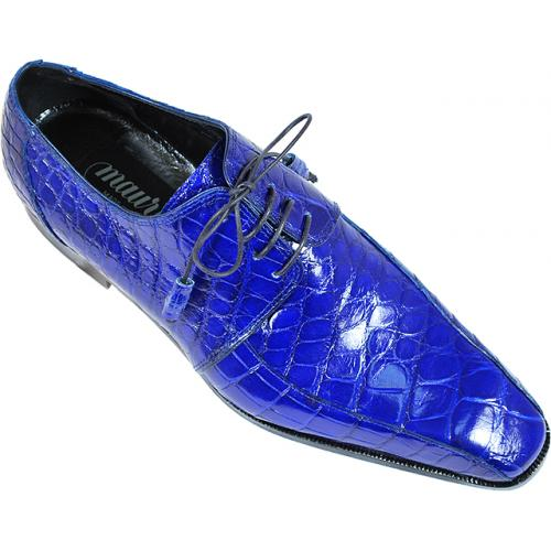 "Mauri  ""Gallery"" 4301 Royal Blue Genuine Alligator Shoes."