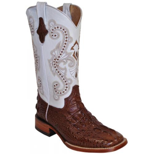 c58f2527550 Ferrini Ladies 90493-09 Chocolate / White Caiman Hornback Crocodile Print  Boots