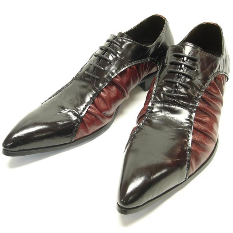 dc58dc2414a13 Fiesso Black / Red Genuine Wrinkled Leather Pointed Toe Shoes FI8081