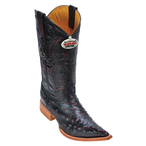 Los Altos Black Cherry Genuine All-Over Ostrich 3X Toe Cowboy Boots 950318