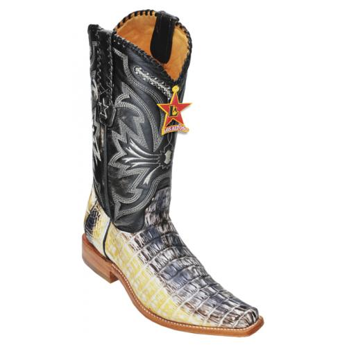 Los Altos Natural All-Over Genuine Crocodile Tail Square Toe Cowboy Boots 710149