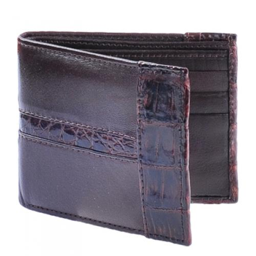 Los Altos Brown Genuine Leather w/ Crocodile Card Holder Wallet CA20207