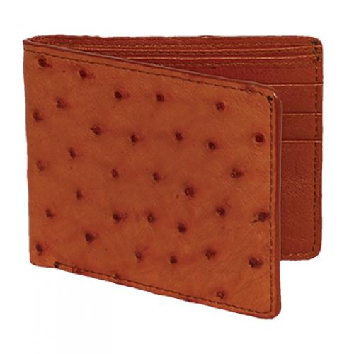 Los Altos Cognac Genuine Ostrich Card Holder Wallet CA10303