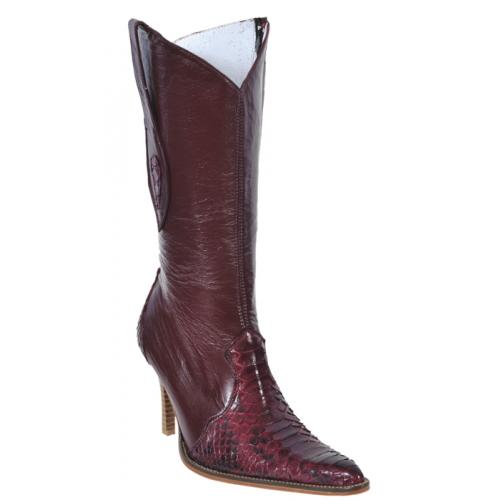 Los Altos Ladies Burgundy Genuine Python Snake Skin High Top Boots With Zipper 375706