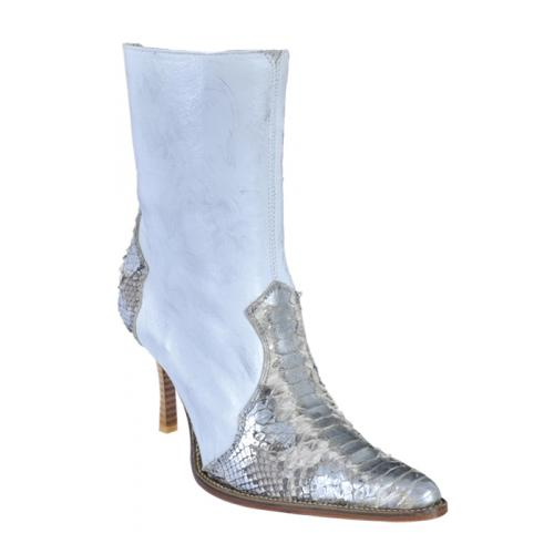 Los Altos Ladies Silver Natural Genuine Python Snake Skin Short Top Boots With Zipper 365737