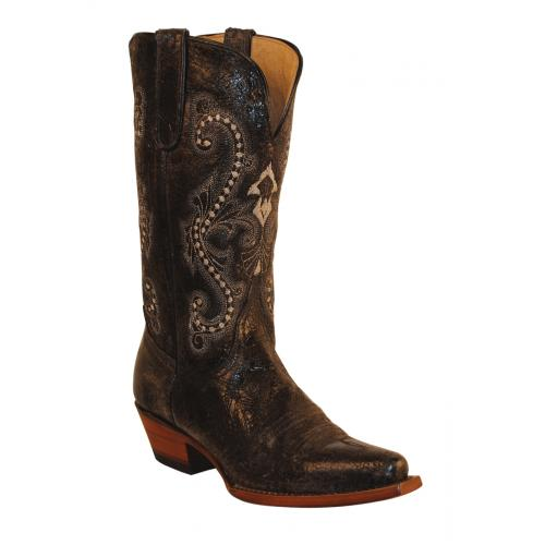 Ferrini Ladies 81061-35 Black Old Crazy Distressed Genuine Cowhide Boots