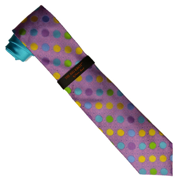 Hi-Density By Steven Land Collection HDS605 Turquoise / Lilac / Multi Color Polka Dot 100% Woven Silk Necktie / Hanky Set