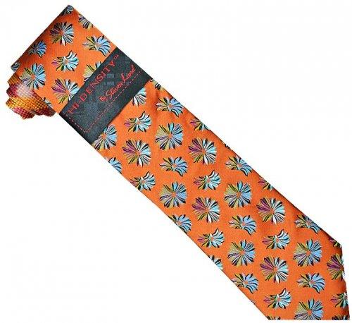 Hi-Density By Steven Land SL091 Rust / Green / Lavender / Black / Turquoise Flower Design 100% Woven Silk Necktie / Hanky Set