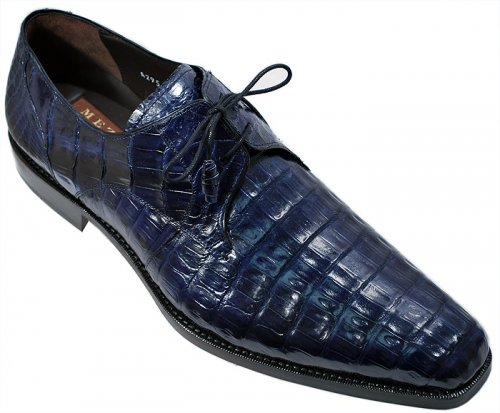 Mezlan -Anderson- Blue All-Over Genuine Crocodile Shoes With Crocodile Wrapped Tassels.
