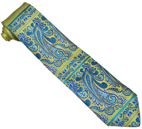 Steven Land Collection SL172 Gold / White / Turquoise Artistic Paisley Design 100% Woven Silk Necktie / Hanky Set