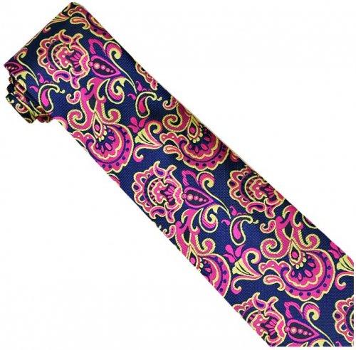 Verse 9 Collection Fuchsia - Yellow - Blue Paisley Design 100% Woven Silk Necktie-Hanky Set V9P