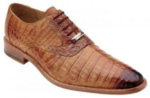 Belvedere Edo Antique Honey Genuine Crocodile Lace Up Shoes 1630
