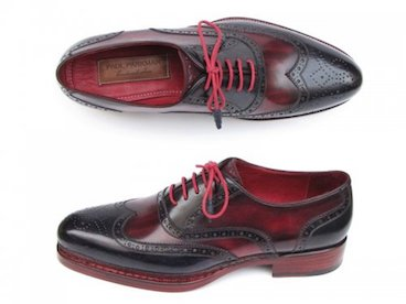 Paul Parkman Navy & Red Genuine Triple Leather Sole Wingtip Brogues Shoes