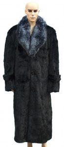 Winter Fur Black Full Skin Mink Full Length Coat With Silver Fox Collar