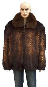 Winter Fur Whiskey Chevron Mink Jacket With Fox Collar
