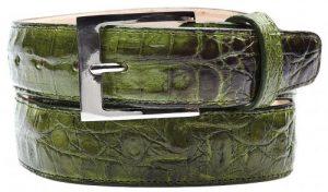 Belvedere Antique Emerald All-Over Genuine Hornback Crocodile Belt