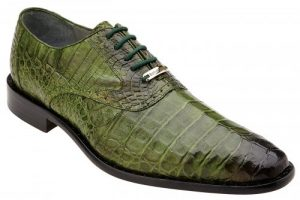 "Belvedere ""Edo"" Antique Emerald Green Genuine Crocodile Lace Up Shoes"