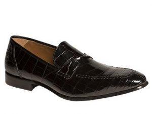 "Mezlan ""Bordone"" Black Genuine Hand Burnished Perforated Italian Alligator Pennny Loafers"