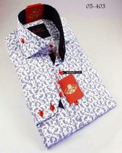Axxess White : Blue Handpick Stitching 100% Cotton Dress Shirt