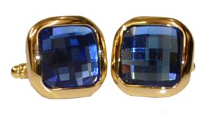 Fratello Gold Plated : Sapphire Blue Rhinestone Square Cufflink